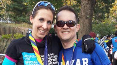 PHOTO: Krissa Cetner and Alexander Salazar after the New York City Marathon on November 2, 2014.