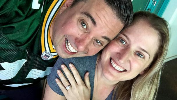 PHOTO: Green Bay super fan Ryan Holtan-Murphy plans to take his fiancee's last name, Packer, when they wed in June.