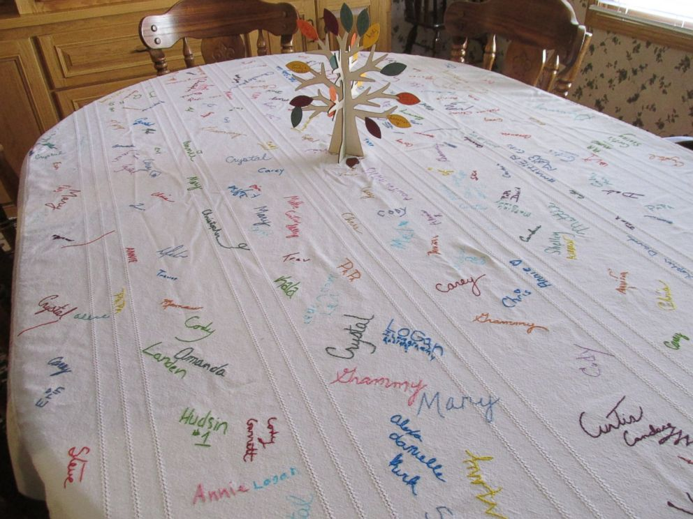 PHOTO: Deb Mills, of Clinton, Missouri, has everyone that joins them for Thanksgiving sign their name on her tablecloth.