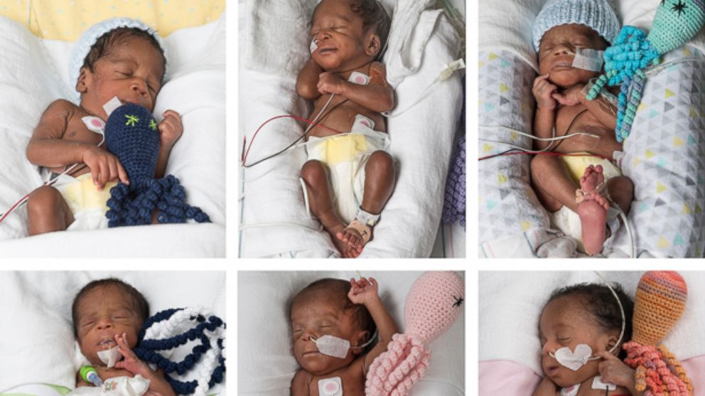 PHOTO: The Taiwo sextuplets were born on May 11, 2017 at VCU Medical Center in Richmond, Virginia. The three boys and three girls are in good condition in the Neonatal Intensive Care Unit at Children's Hospital of Richmond at VCU.