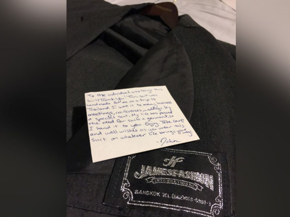 PHOTO: To help complete his goal, John Israel tucked notes into old suits before he donated them.