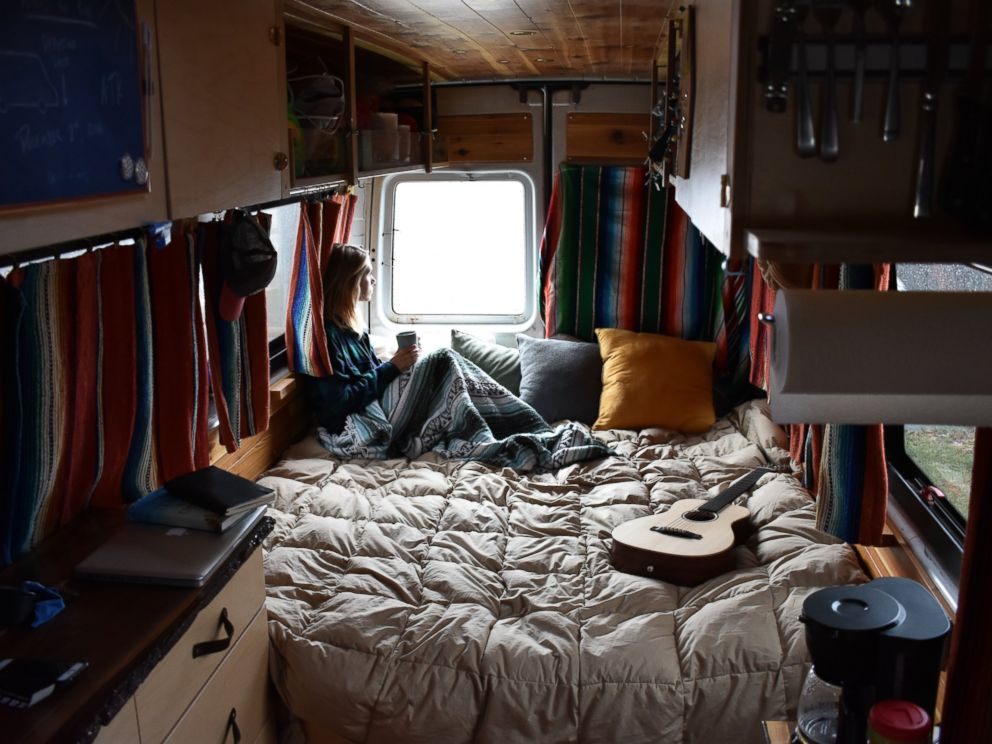 PHOTO: The couple says visitors are always surprised at how large and comfortable the interior of the van is.