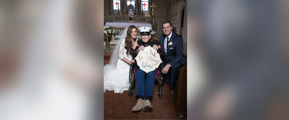 "PHOTO: Alison Ferrells 92-year-old uncle, Bill Lee Eblen, served as her ""something blue"" in his Marine dress blues at her May 13 wedding."