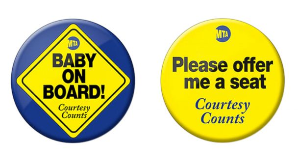 PHOTO: The New York City MTA is offering a free button to encourage fellow subway, bus and train riders to offer a seat to pregnant women.