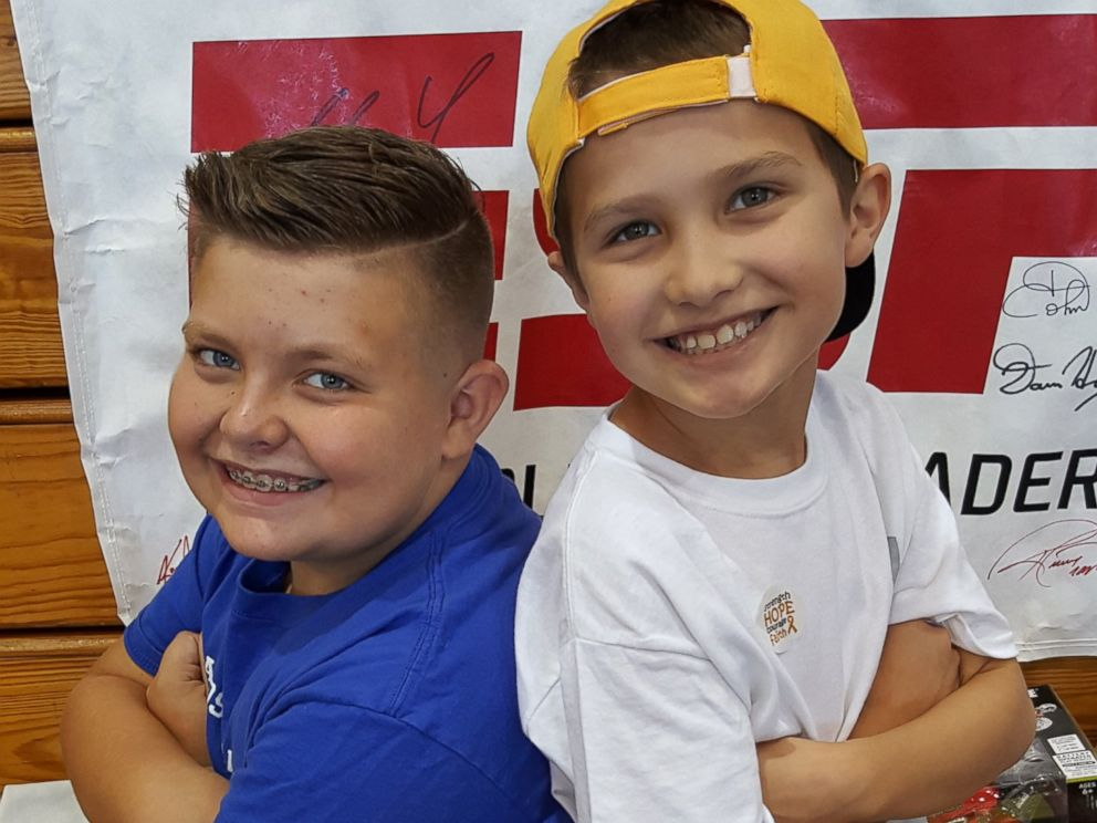 PHOTO: Seen in an undated photo, Brady Kahle, 10, and his friend Landen Palatino, 9, who was diagnosed with a grade 4 brain tumor on Jan. 8, 2016
