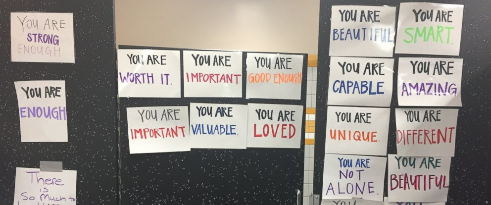 PHOTO: One California high school posted bathroom doors with signs of affirmation.