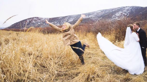 PHOTO: Janessa James proved she's the best bridesmaid by jumping out of her friends bridal photo, taken in Utah.
