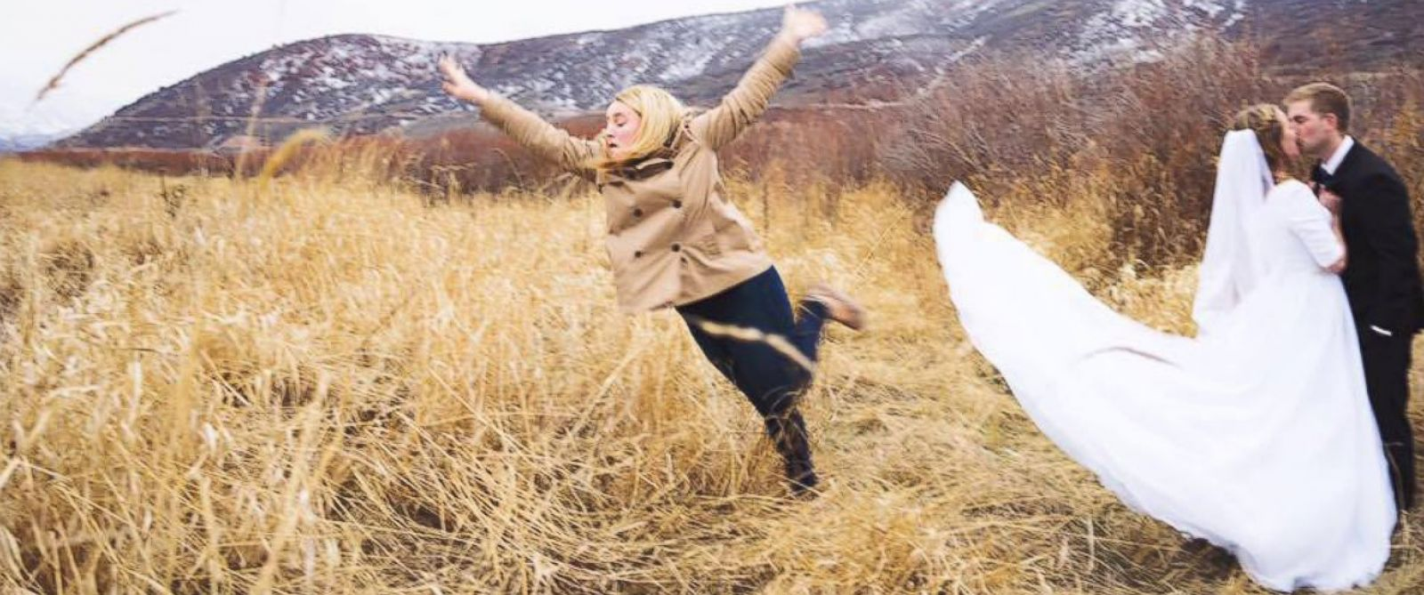 PHOTO: Janessa James proved shes the best bridesmaid by jumping out of her friends bridal photo, taken in Utah.
