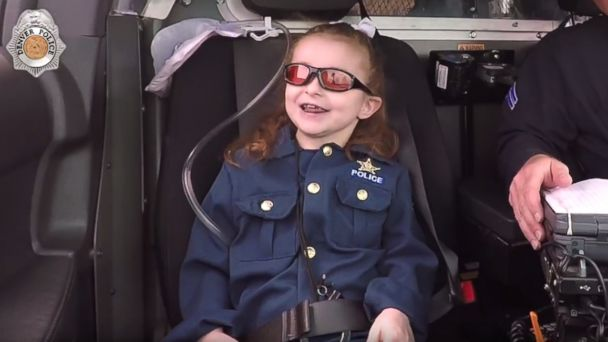 PHOTO: The Denver Police Department granted 6-year-old Olivia Gant's bucket list wish to become a police officer for a day.