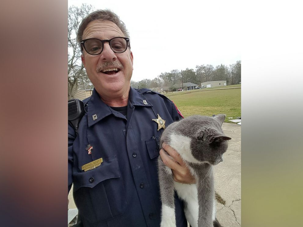 PHOTO: When a cat got caught in a garage door, the Ascension Parish Sheriffs Office came to the rescue.