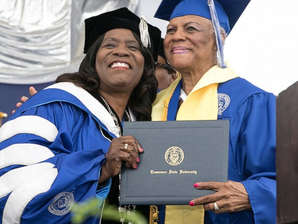 PHOTO: Tennessee State University President Glenda Glover giving Darlene Mullins her diploma on May 6, 2017.