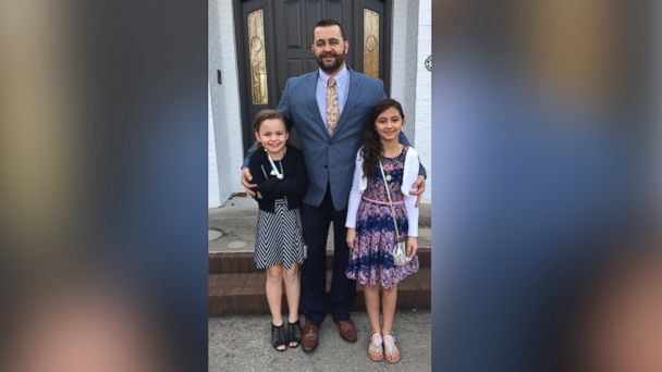 PHOTO: Russ Saputo of Elkhart, Indiana, asked his daughter Angelina, 10 (right), and her best friend, Ellcy Miller, 9 (left), to accompany him and his little girl to the school's daddy-daughter dance.