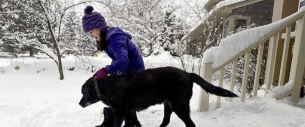 PHOTO: Maddie Dimetrosky, 11, helps her dog, Tashi, get down the new ramp built by their mailman on Thursday in Boulder.