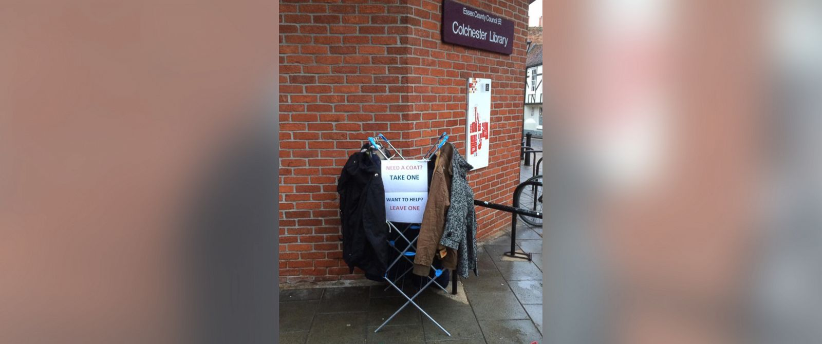 PHOTO: Fay Sibley, of Essex, U.K., placed a clothing rack full of coats outside of her local library to help the homeless keep warm during winter.