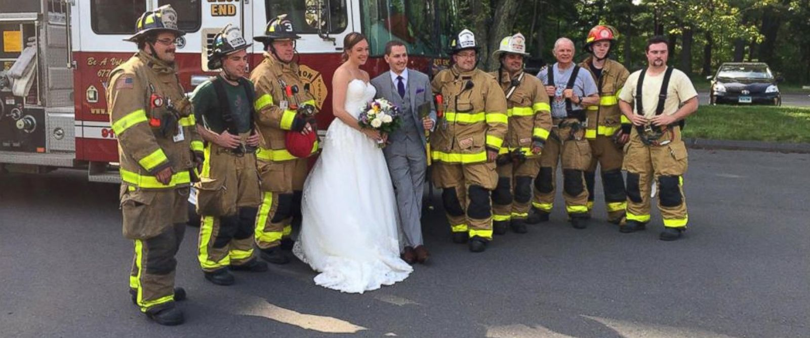 PHOTO: Justin Stone and Maria Leonardi, who wed on Saturday, had to be rescued by the Avon Volunteer Fire Department in Connecticut, after their wedding bus caught fire.