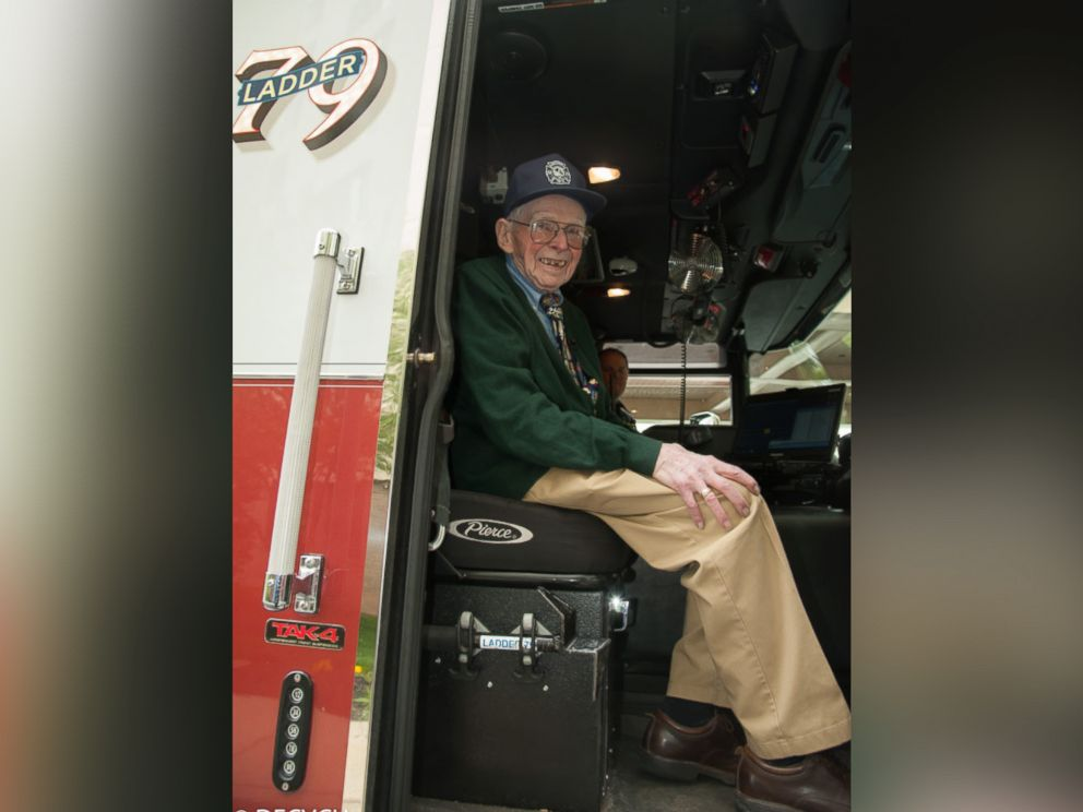 PHOTO: Bill Grun, of Doylestown, Pennsylvania, got to ride in the fire truck and sound the siren.