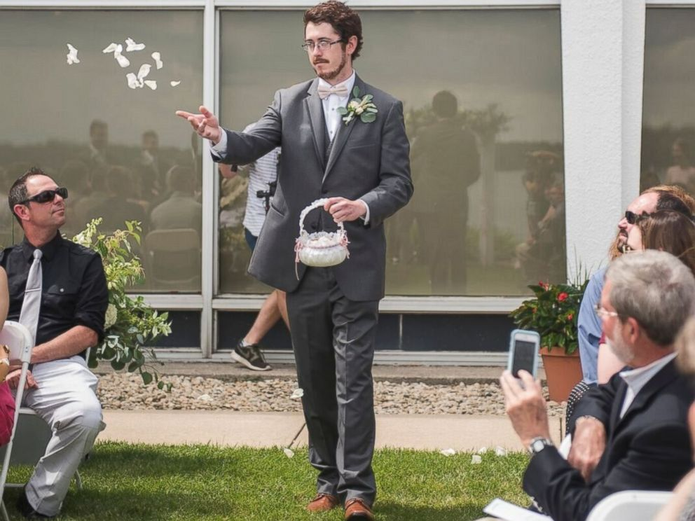 Grown man is flower girl at his cousin's wedding