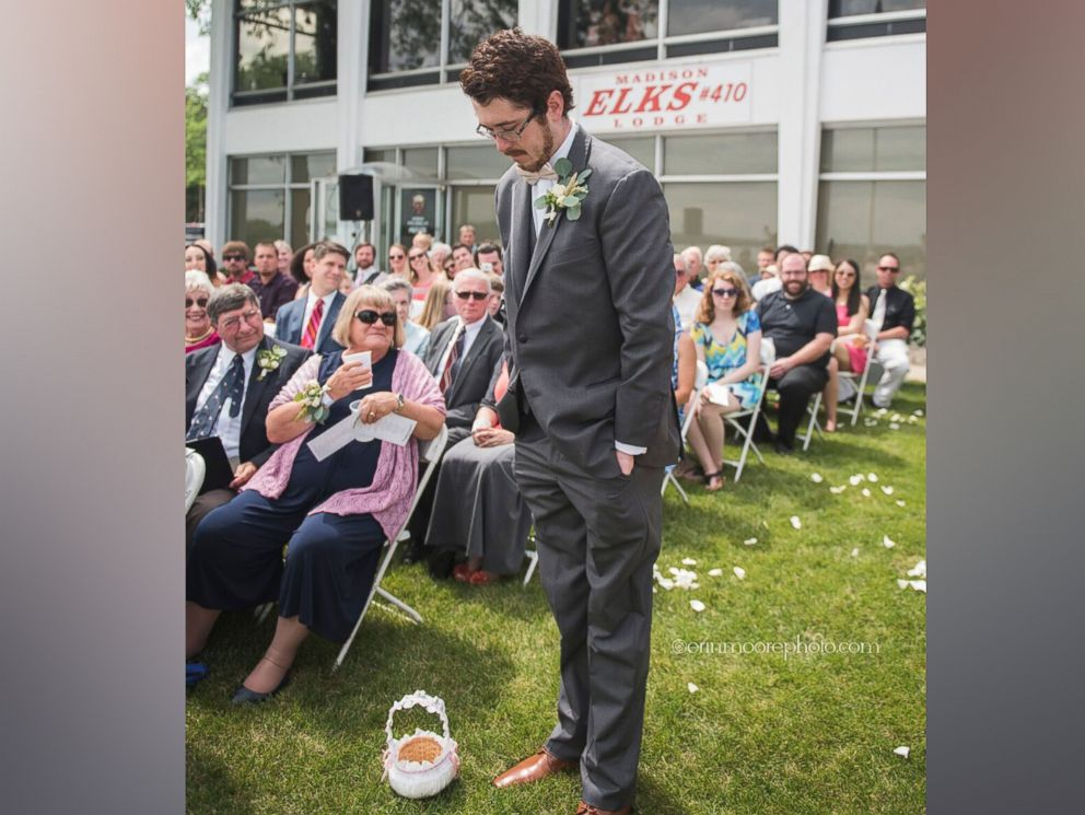 Weddings : This grown man serves as flower girl at cousin's wedding