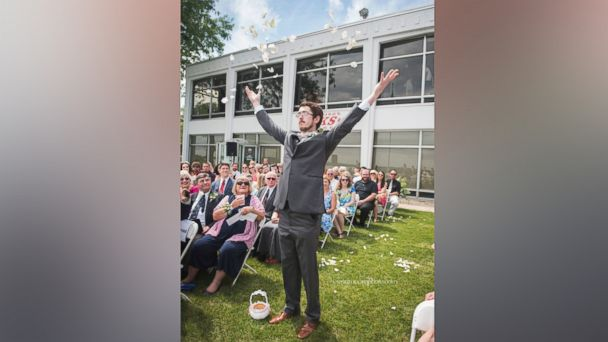 PHOTO: Patrick Casey making his way down the aisle at his cousin's wedding as the