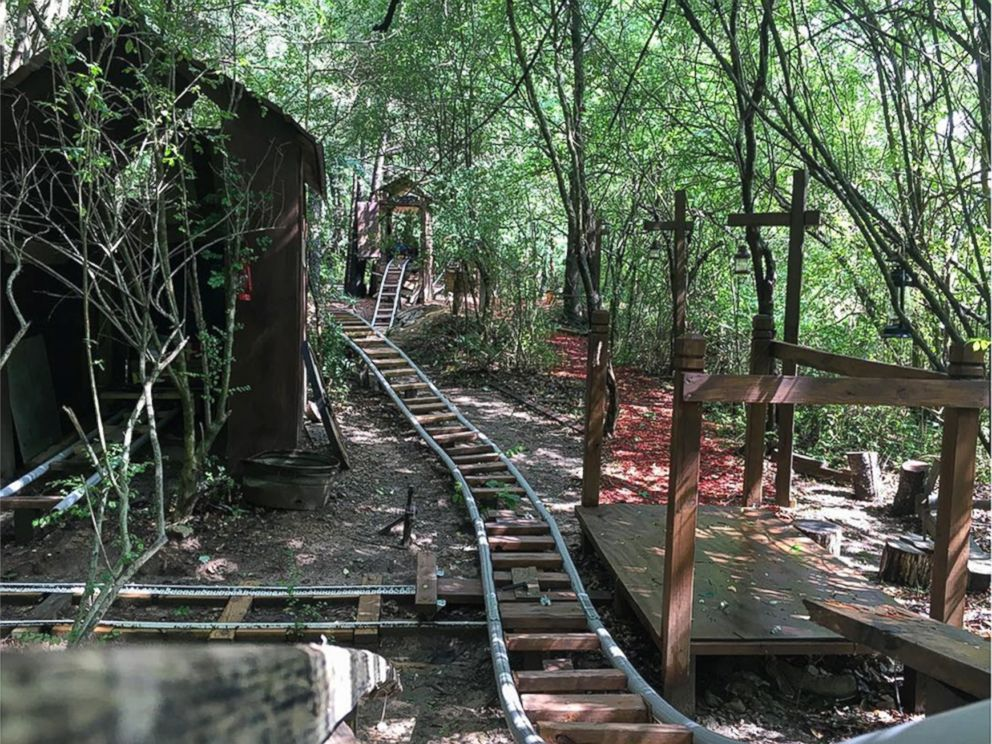 elaborate backyard roller coaster called the white mountain railroad