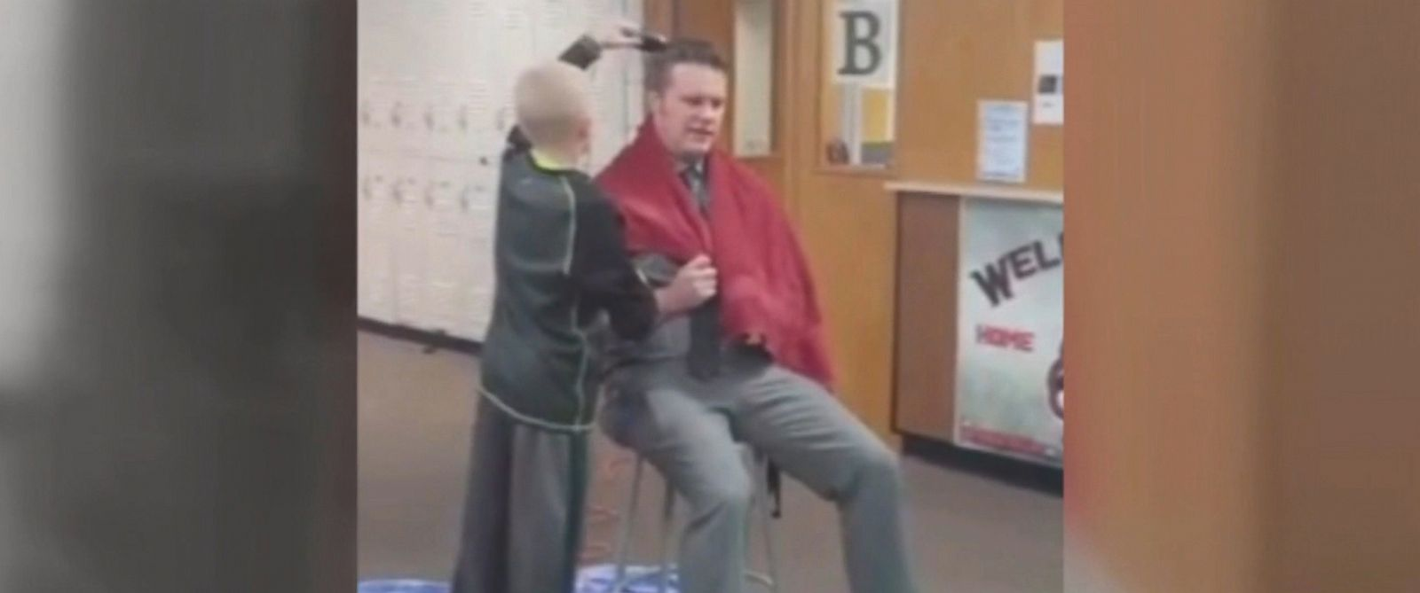 PHOTO: Tim Hadley, the principal of Pekin Middle School in Iowa, shaved his head on Jan. 10, 2017, to support sixth-grader Jackson Johnston, who said he was bullied after shaving his head in solidarity with his grandfather battling cancer.
