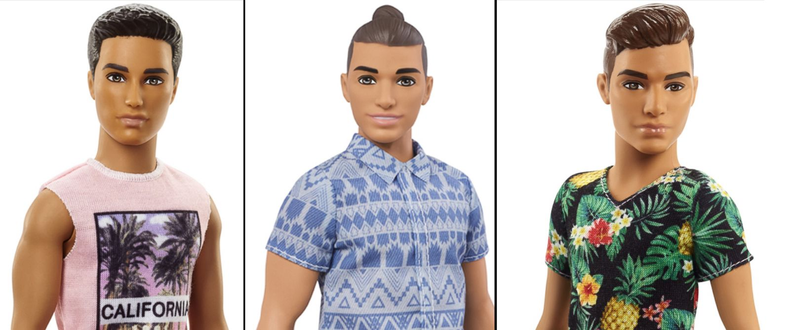 PHOTO: Three of the 15 new Ken dolls released by Mattel.
