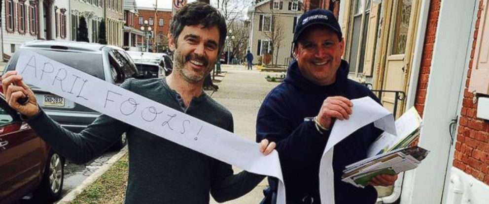 PHOTO: Billy Kelly and his wife decided to have some fun with the mailman on April Fools Day.