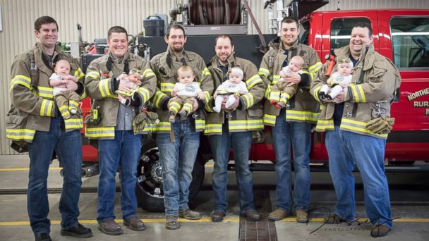 PHOTO: Six volunteer firefighters from the Mediapolis Fire Department in Iowa welcomed six babies in seven months.