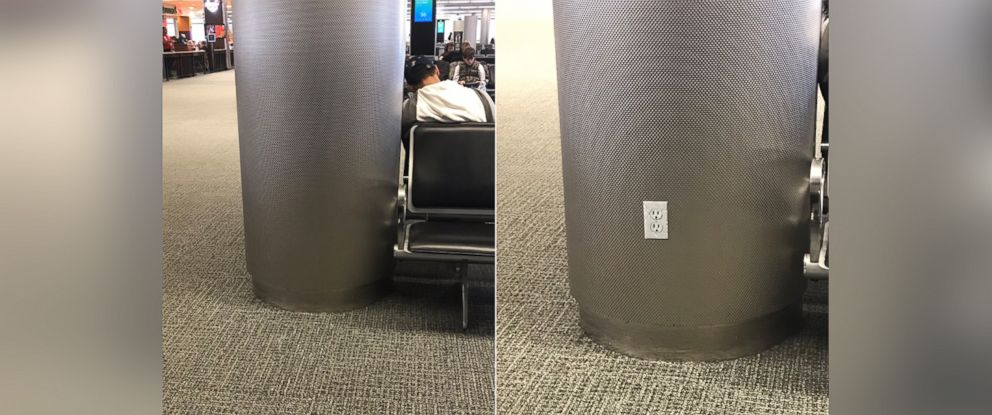 PHOTO: David McDonald created outlet stickers to hilariously confuse those in the Miami International Airport on June 14, 2017.