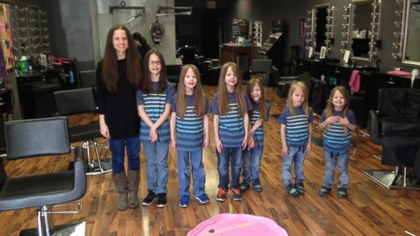 PHOTO: Phoebe Kannisto and her six sons all chopped their hair off to later donate it to an organization called Children with Hair Loss.