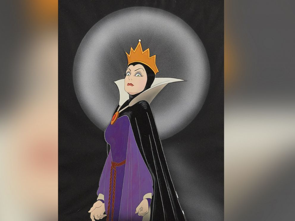 PHOTO: A celluloid of the Queen from Snow White and the Seven Dwarfs, Walt Disney Studios, 1937. Made with gouache on trimmed celluloid, applied to a Courvoisier watercolor paper background, matted and framed. Estimate: $10,000-15,000.