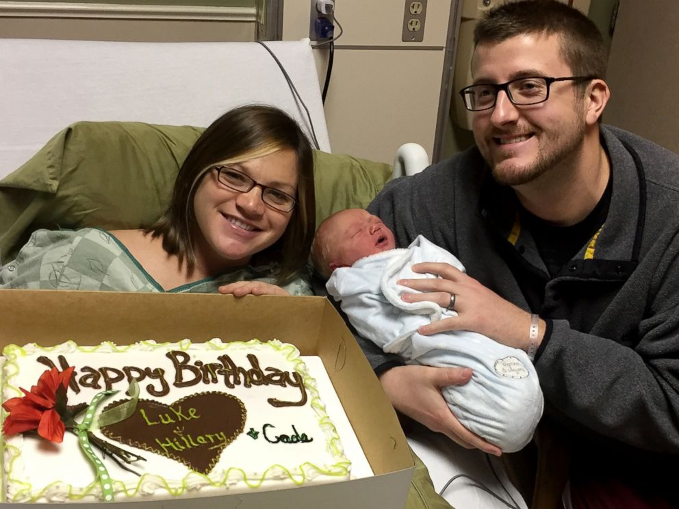 PHOTO: Hillary Gardner, 27, Luke Gardner, 27 of Baldwyn, Mississippi and their newborn son, Cade Lee Gardner, all share the same birthday, December 18.