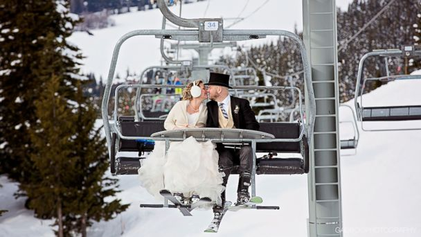PHOTO: Andrew Leonard and Chela Davison hit the slopes after their ski-themed wedding at Whistler Blackcomb Resort in Canada.