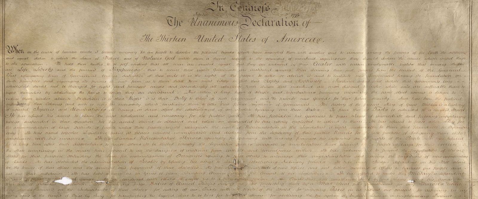 2nd parchment manuscript copy of the Declaration of Independence ...