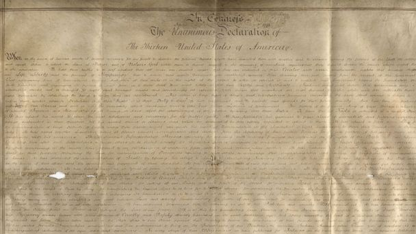 PHOTO: The Sussex Declaration, the only other manuscript copy of the Declaration of Independence besides the 1776 version at the National Archives, was found by Emily Sneff and Danielle Allen of the Declaration Resources Project at Harvard University.