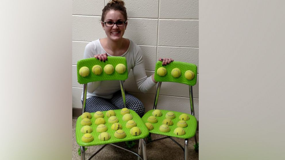 Teacher creates tennis ball chair to help students with