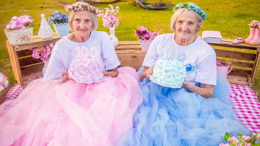 Twins celebrate their 100th birthday with whimsical photo shoot