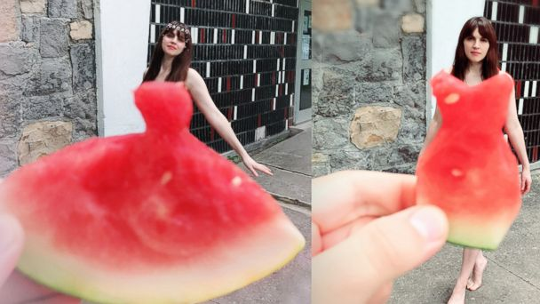 PHOTO: One of the many women who tried out the new watermelon dress trend on Instagram.