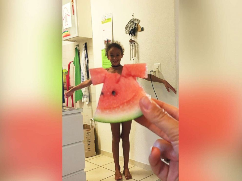 PHOTO: A 7-year-old from Switzerland dawns her fruity dress on her mothers Instagram.