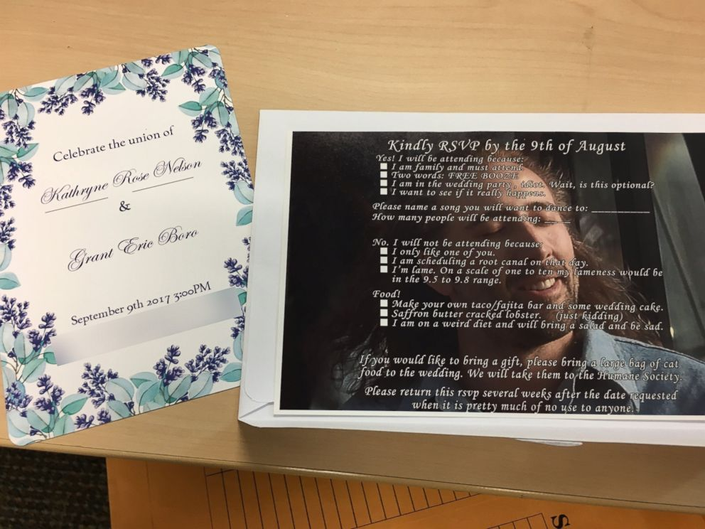 PHOTO: Grant Boro of Oregon made unconventional wedding RSVPs featuring a photo of Nicolas Cage with hilarious options to reply.