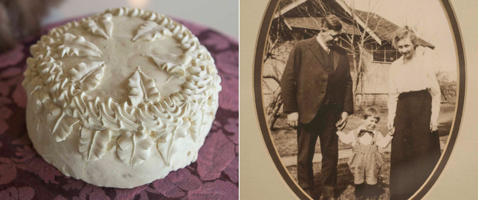 PHOTO: 100-year-old wedding cake found in grandsons garage in Yakima, Washington.