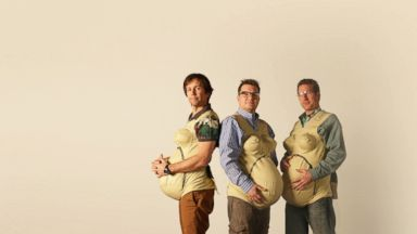 PHOTO: From left, Jonny, Steve and Jason, all wearing empathy bellies as part of the Three Pregnant Dads monthlong project.