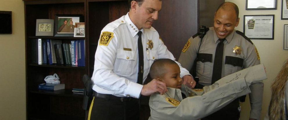 PHOTO: Kaleb Holder, 8, was able to become sheriff for a day on March 4, 2016 in Allentown, Pa.
