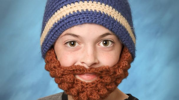 HT Knit Yearbook Photo EM 16x9 608 Kid Gets Away With Wearing Hilarious Knit Beard in His Yearbook Photo