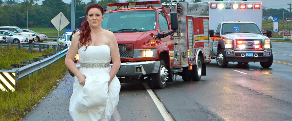 PHOTO: Sarah Ray, 29, left her own wedding after receiving a call about a car crash in the area.