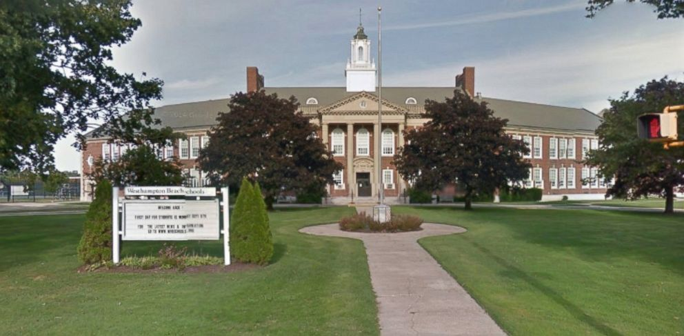 PHOTO: In an undated photo made from Google Image Street view, shows the main entrance of Westhampton beach middle school.