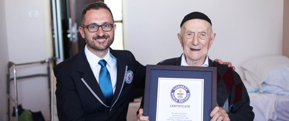 PHOTO: Guinness World Records has named Israel Kristal of Haifa, Israel, the worlds Oldest living man.