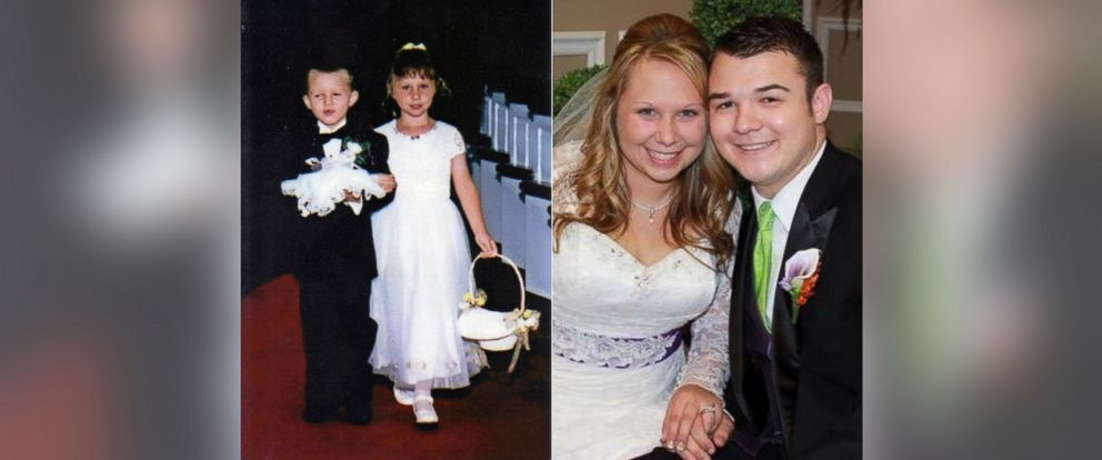PHOTO: Adrian and Brooke Franklin married 17 years after walking down the aisle as ring bearer and flower girl.