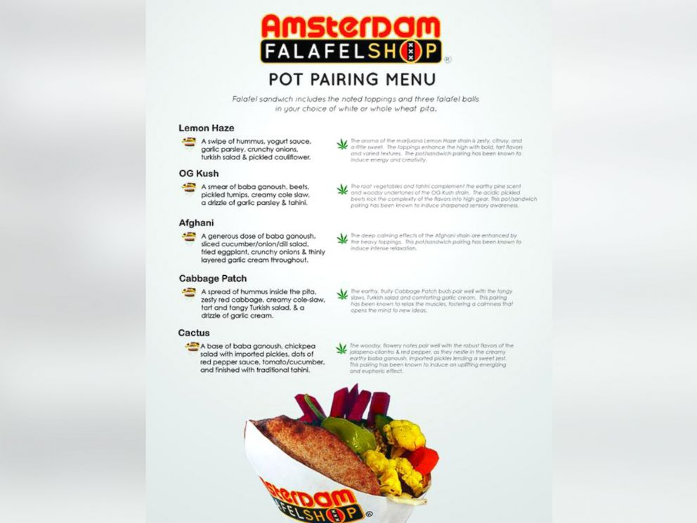 PHOTO: Amsterdam Falafel in Washington, D.C. recently launched a pot-pairing menu of sandwiches that will heighten the experience of widely-found marijuana strains.