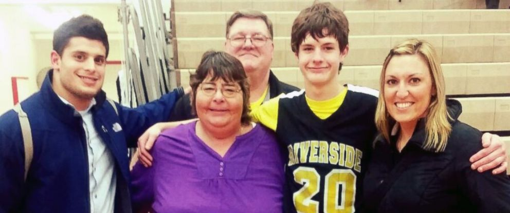 PHOTO: Dargan Bristow stands with coach Rossi Santo, grandmother Diana, grandfather Mike and teacher Brynn Ryan.
